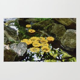 sunflowers in the stream Rug