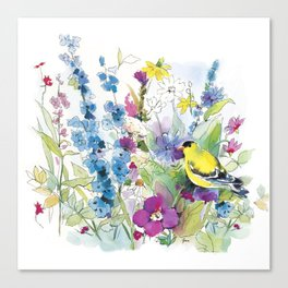 yellow bird and wildflowers Canvas Print