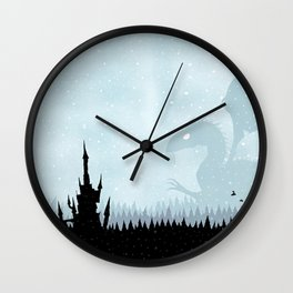 Dragon in Snowy Forest Wall Clock