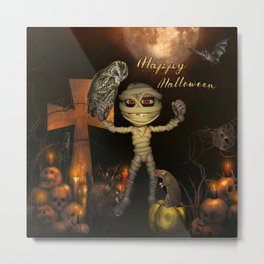 Funny halloween design with mummy, owl and pumpkin Metal Print