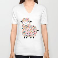 bubble V-neck T-shirts featuring Bubble Sheep by Andy Westface