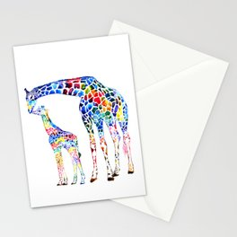 Colorful giraffes Stationery Cards