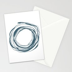 Abstract Line No.17 Teal blue Stationery Cards