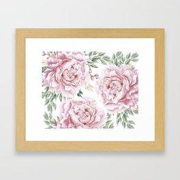 Pretty Pink Roses Floral Garden Framed Art Print