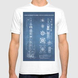 Soyuz Blueprint in High Resolution (light blue) T-shirt
