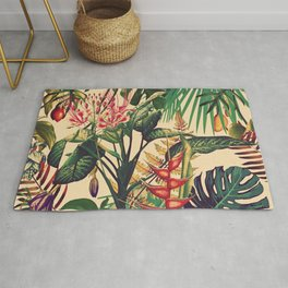 Vintage Tropical Flora (green) Rug