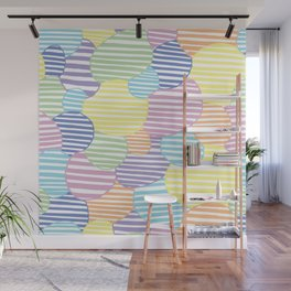 Circled Pastel Lines Wall Mural