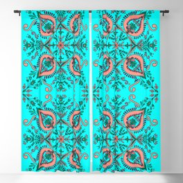 Garden folk art floaral with Scandinavian motifs-cyan and coral color palette Blackout Curtain