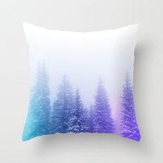 Blue and Purple Pines Throw Pillow