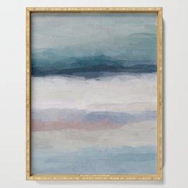 Dark Teal Blue, White, Pink, Light Blue Modern Wall Art, Ocean Waves Diptych Nursery Beach Decor Art Serving Tray