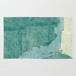 Florida State Map Blue Vintage Rug