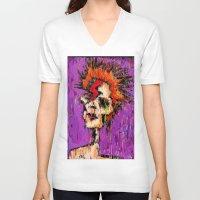 aladdin V-neck T-shirts featuring Aladdin Sane by brett66
