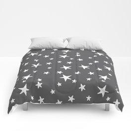Stars - White on Gray Comforters