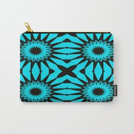 blue & Black Pinwheel Flowers Carry-All Pouch
