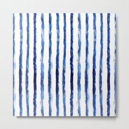 Blue painted stripes Metal Print