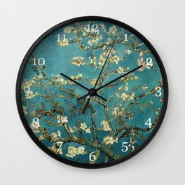 Blossoming Almond Trees, Vincent van Gogh. Famous vintage fine art. Wall Clock