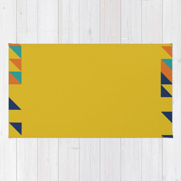 Geometric Square Border Pattern Rug
