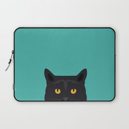 Cat head black cat peeking gifts for cat lovers pet portraits Laptop Sleeve