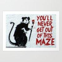 phish Art Prints featuring Banksy Phish Rat by tweezburger