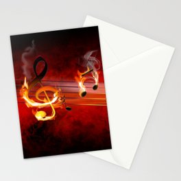 Hot Music Notes Stationery Cards