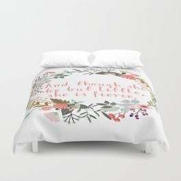 She Is Fierce Floral Wall Decor Duvet Cover