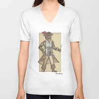 drum V-neck T-shirts featuring Drum Cat by Felis Simha