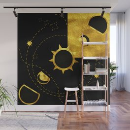 Solar Eclipse black gold Wall Mural