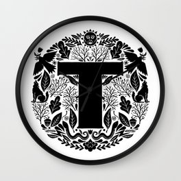 Letter T monogram wildwood Wall Clock