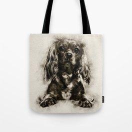 Cavalier King Charles Spaniel Puppy Sketch Tote Bag
