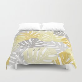 Yellow monstera deliciosa leaves Duvet Cover