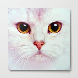 Geometric White Cat Metal Print