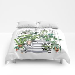 greenhouse illustration Comforters