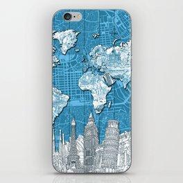 world map city skyline 10 iPhone Skin