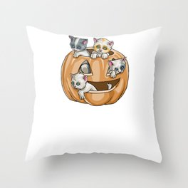 Cats Pumpkin, It's Show Time Funny Halloween Horror Scary Throw Pillow