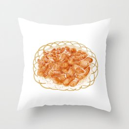 Watercolor Illustration of Chinese Cuisine - Deep-fried silkworm pupa | 炸蚕蛹 Throw Pillow