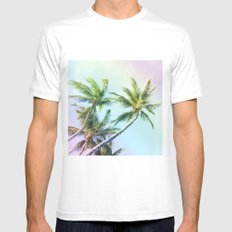 Relaxing Rainbow Color Palms MEDIUM White Mens Fitted Tee