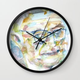 SARTRE - watercolor portrait.3 Wall Clock