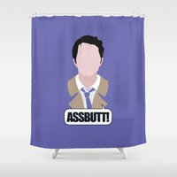 castiel Shower Curtains featuring 3 Castiel Novak by Alice Wieckowska