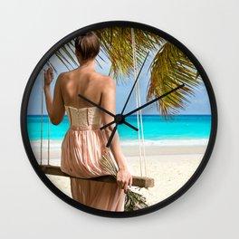 Woman on the sea Wall Clock