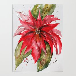 Bright Red Poinsettia Watercolor Poster
