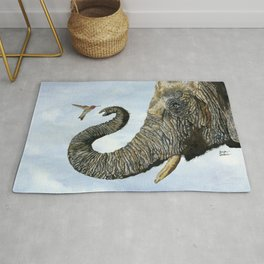 Elephant Cyril And Hummingbird Ayre Rug