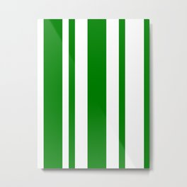 Mixed Vertical Stripes - White and Green Metal Print