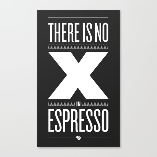 No X in Espresso – Dark Grey Canvas Print