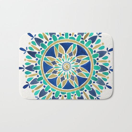 Mandala – Gold & Turquoise Bath Mat