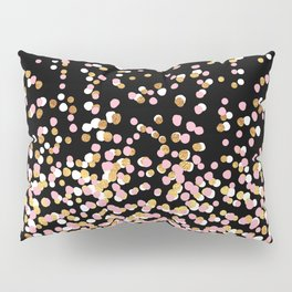Floating Dots - White, Gold and Pink on Black Pillow Sham