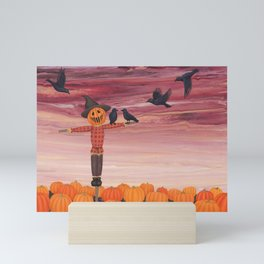 scarecrow, crows, and pumpkin patch Mini Art Print