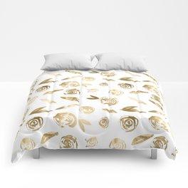 Gold Roses Rosette Pattern Golden on White Comforters