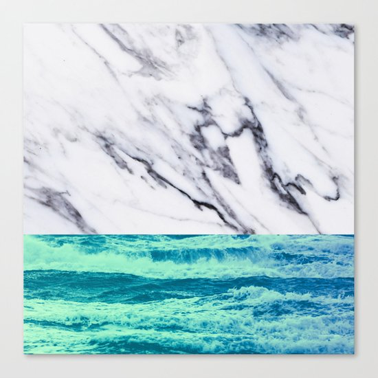 Marble Ocean iPhone Case and Throw Pillow Design Canvas Print