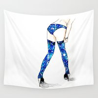 burlesque Wall Tapestries featuring darn stockings won't stay up by Beth Jorgensen