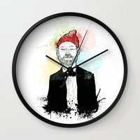 steve zissou Wall Clocks featuring Steve Zissou  by suPmön